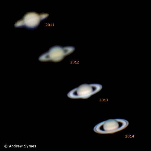 """Saturn with a handheld video camera (2011), a DSLR (2012), and an iPhone (2013, 2014) through a 5"""" telescope (2011) and an 8"""" telescope (2012-2014.)"""